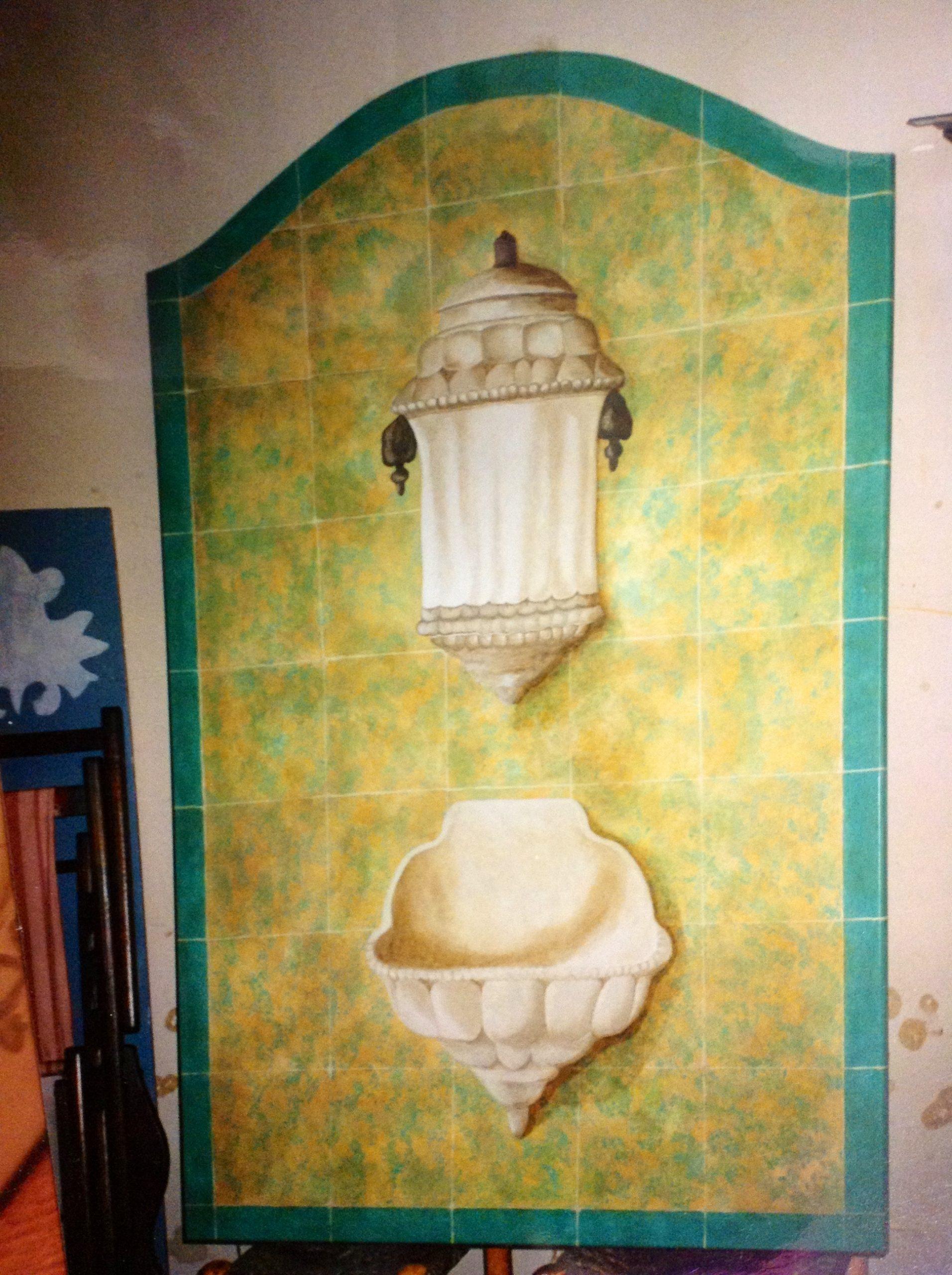 Falsos azulejos con aguamanil